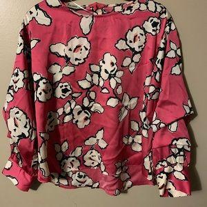 Zara Basic oriental print blouse size 10  Pink